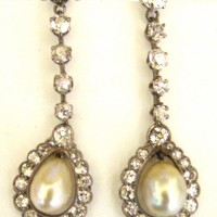 Art Deco white Metal Diamond and Pearl Drop Earrings. Hammer price:  £4,900