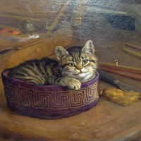 Frank Paton  Study of a Cat Within An Artist's Hat, oil on canvas. Hammer: £5000