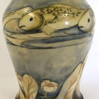 A rare Moorcroft vase with fish pattern. Hammer:  £2600