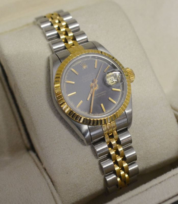 Rolex Oyster Perpetual Date Adjust Superlative Chronometer Gold and Stainless Steel Ladies Wrist Watch with Blue Dial, with original strap and box Hammer: £1500
