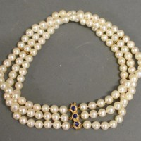 A Triple Row Cultured Pearl Choker  Hammer £620