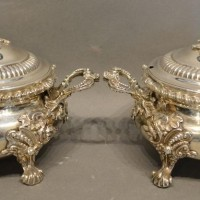 A Pair of George III Silver Covered Tureens, each with a foliate mount Hammer £320